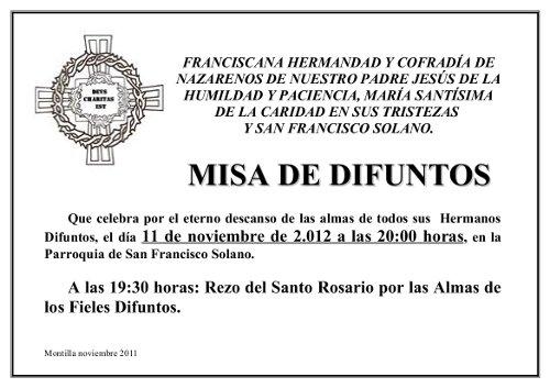 Semana Santa en Montilla: Misa de Difuntos Hermandad de la